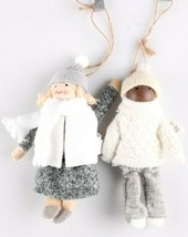 2 Birchwood Bay Fabric African American + White w Hats Girls Christmas Ornament