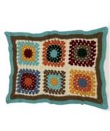 Handmade Crochet Baby Blanket Throw Granny Square Retro Color Block 23x33 - $19.79