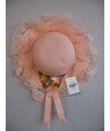 SPRING EASTER SUMMER Girl's orange lace Ribbon flowers straw hat  S M L-... - $3.00
