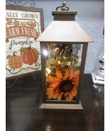 Fall Thanksgiving Sunflower Metal Lantern LED Lights Table Decor Decoration - $32.99