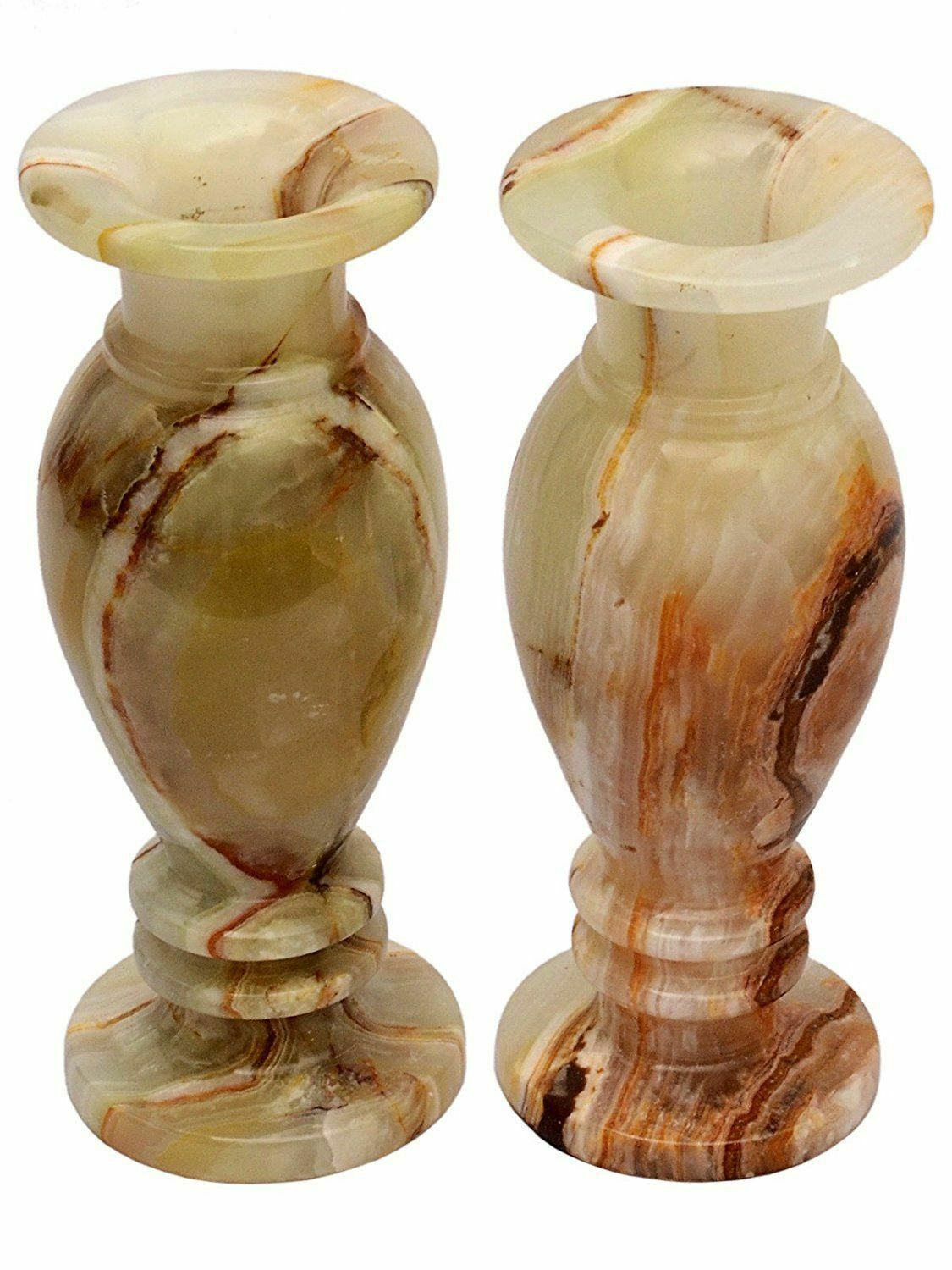 "Primary image for Flower pot Home Decor, Gift Handcrafted Onyx Natural stone Vase (8"", pack of 2)"