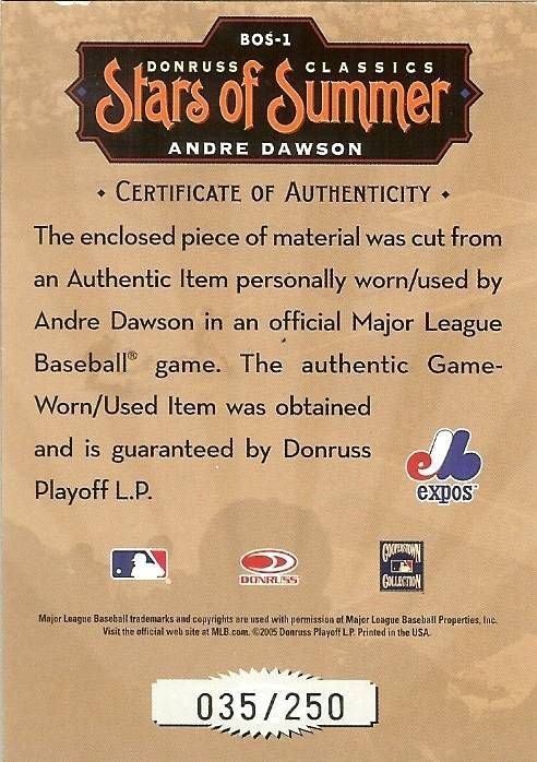 2005 DONRUSS MONTREAL EXPOS ANDRE DAWSON GAME USED JERSEY SERIAL # 35/250