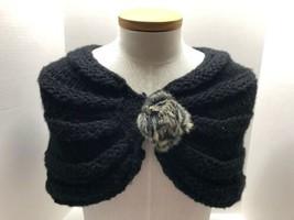 Black Knit Shawl Stole Wrap Rabbit Fur Closure Button Italy Women's Acce... - $21.73