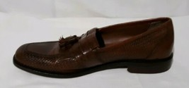 Mens Bostonian SZ 10.5 Brown Textured Leather Slip On Tassel Loafers Dress Shoes - $18.76