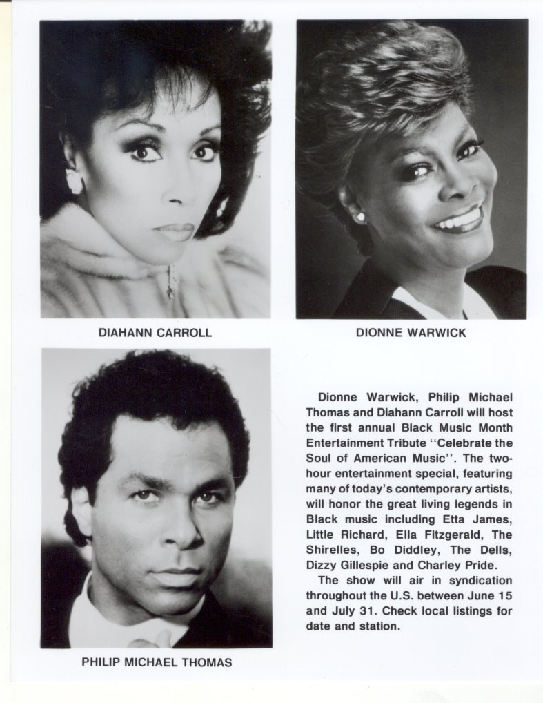 Celebrate the Soul of American Music Diahann Carroll Dionne Warwick Press Photo