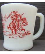 Vintage FIRE KING DAVY CROCKETT MUG Red Print HORSES COVERED WAGON Oven ... - $98.99