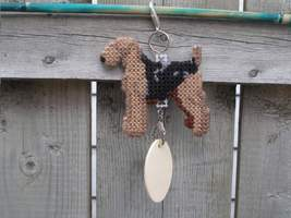 Airedale Terrier dog crate tag or hang anywhere, handmade kennel accessory art - $20.00