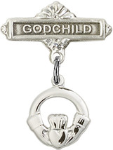 Sterling Silver Baby Badge with Claddagh Charm Pin 7/8 X 5/8 inch - $55.13