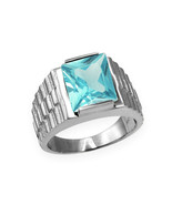 Sterling Silver Mens Square CZ March Birthstone Watchband Ring - $64.99