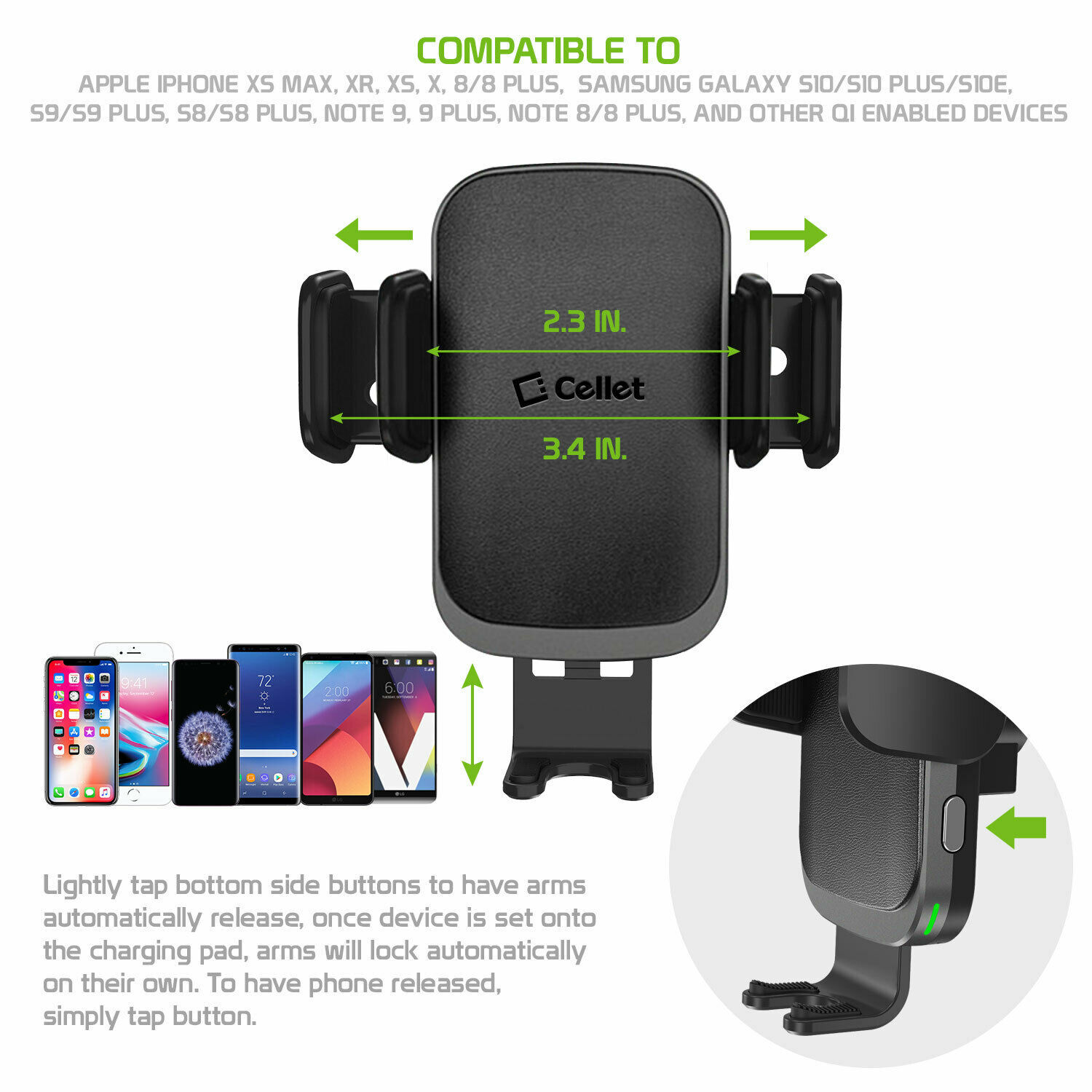 Cellet QI Wireless Fast Charge Phone Mount Dashboard Air Vent for iPhone Note 10 image 4