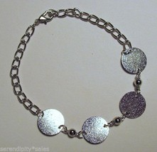 "25 SILVER  BRACELET Blanks Forms 4 Round pads 15mm (~ 5/8"") Adjustable Length - £20.59 GBP"