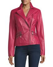Queen Pink Asymmetrical Stylish zip Women Genuine Lambskin Leather biker... - $149.00