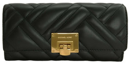 Michael Kors Vivianne Purse Envelope Wallet Black Quilted Leather Large - $186.20