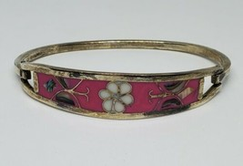 Alpaca Pink Enamel Abalone Hinged Bracelet Mexican - $12.00