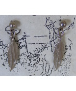 Silvertone feather earrings, surgical steel posts - $6.99