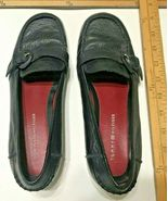 VINTAGE TOMMY HILFIGER LADIES BLACK TEXTURED LEATHER LOAFERS 8 1/2 B - $29.95