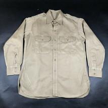 Vintage Khaki Button Down Shirt Mens 2XL Thick Sanforized 16x32 Raglan E... - $28.05