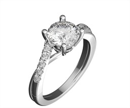 Real Gold ring round cut moissanite/natural accent diamonds vs/f 14k whi... - $431.65