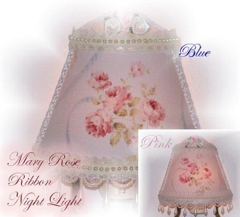Pink or Blue Cottage Rose NIGHT LIGHT Vintage-look Victorian-style Elegant CHIC! - $17.99