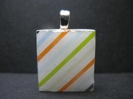 Stripes - Scrabble Tile Pendant - $5.00
