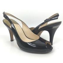 Women Cole Haan Size 6.5B Peep Toe Patent Leather Slingback Stiletto Pumps Black - $19.62