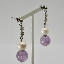 EARRINGS SILVER 925 RHODIUM HANGING ZIRCON CUBIC PEARLS AND AMETHYST image 2