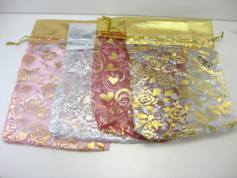 "Primary image for 12 Jewelry Pouches in Beautiful String Bags Organza 7""X 5"" INDIA"