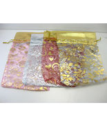 """12 Jewelry Pouches in Beautiful String Bags Organza 7""""X 5"""" INDIA - $4.68"""