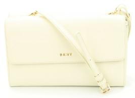 DKNY Donna Karan Sand Dollar Cream Leather Double Flap Shoulder Bag Clutch  - $122.31