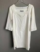 Anne Klein Crochet Linen Ivory Dress White Long Bell Sleeve 4 - $29.65