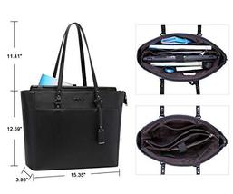 15.6 Inch Briefcase for Women, Laptop Tote Bag Bottom with 4 Metal Feet, Multi F image 5