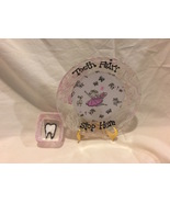 """Tooth Fairy Plate and Container Hand Marble Painted 7"""" Personalized - $10.99"""