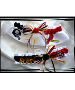 House Divided White Satin Wedding Garter Set Made with Steelers n Cardin... - $40.00