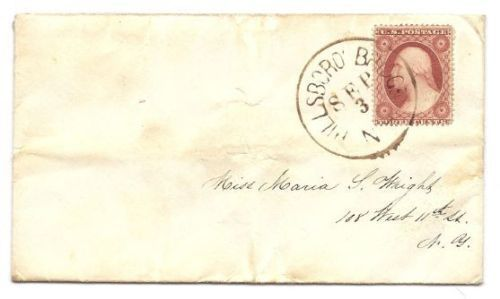 c1858 Hillsborough Bridge NH Discontinued/Defunct (DPO) Post Office Postal Cover