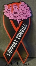Support Zombies Apocalypse Brains Magnet Magnetic Car Ribbon - £5.25 GBP