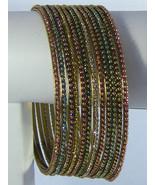 BellyDance Bracelet Bangles Gold-tone Dozen Potpourri Colored Large/6.7c... - $5.74