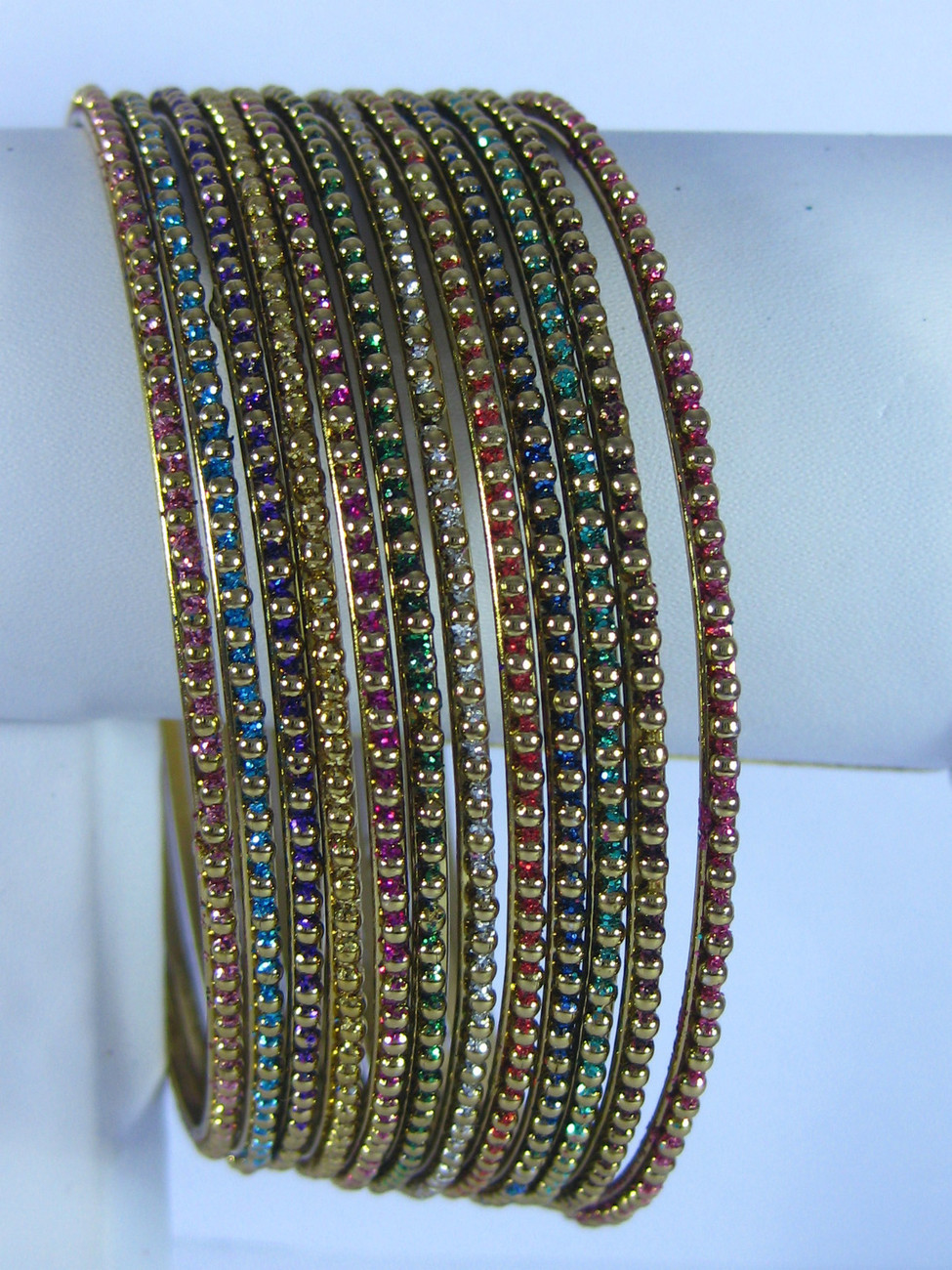 BellyDance Bracelet Bangles Gold-tone Dozen Potpourri Colored Large/6.7cm India