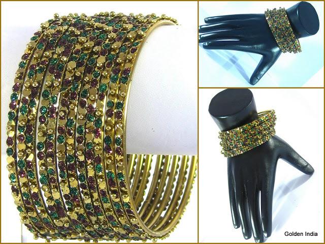 BellyDance Bracelet Bangles Gold-tone Dozen Red & Green Zari Large/6.7cm India