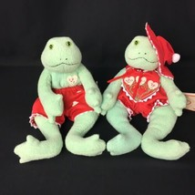 Hallmark Plush Frogs Lily Pond & Tad Pole Green Red Hearts 2002 - $10.00