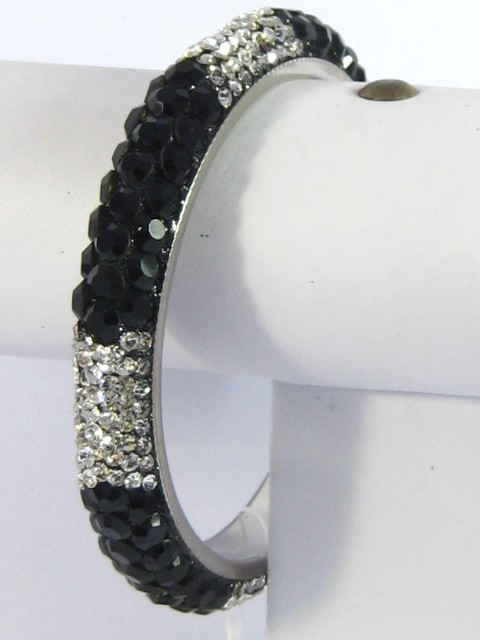 Primary image for Crystal Bracelet Bangle Black & Silver India Bridal Jewelry Swarovski Quality