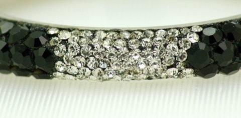 Crystal Bracelet Bangle Black & Silver India Bridal Jewelry Swarovski Quality