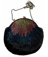 La Regale Purse Bag Clutch Beaded Art Deco Peacock Style Chain Strap - $35.84