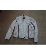 Womans Ladies White and Pink Leather Fitted Jacket - $59.99