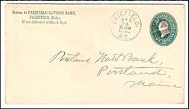 1894 Fairfield ME Vintage Post Office Postal Cover - $9.95