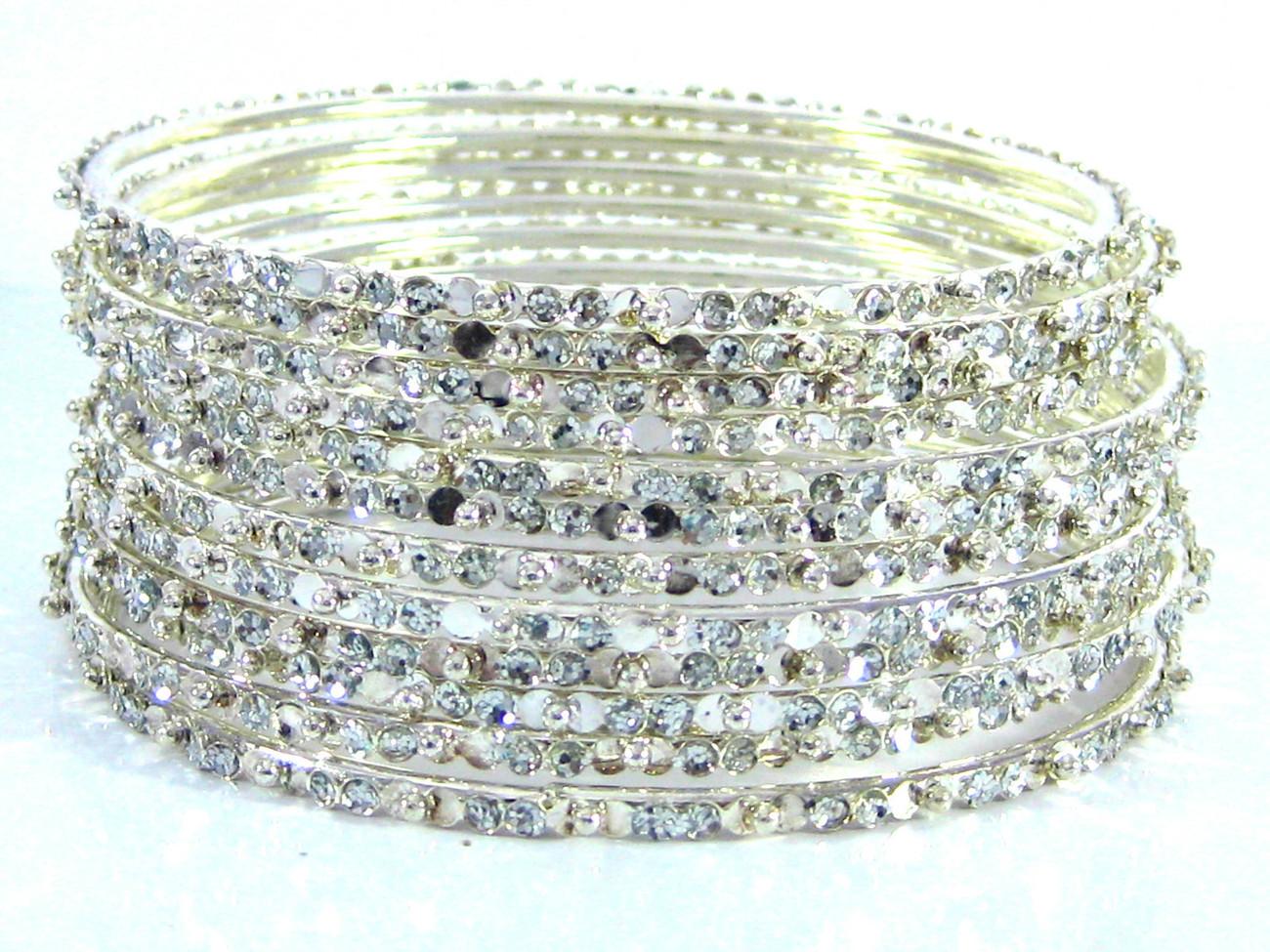 """Designer Bellydance Metal Bangle Bracelets 12 Gold/ Silver Large 2.10"""" India"""