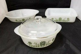 Glasbake Casserole Dishes Set of 3, Green, Crazy Daisy Spring Blossom, B... - $19.34