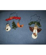 2 wooden snowman/christmas decorations - $4.00