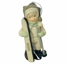 Pretty as Picture Kim Anderson figurine Christmas ski ornament skiis hol... - $24.14