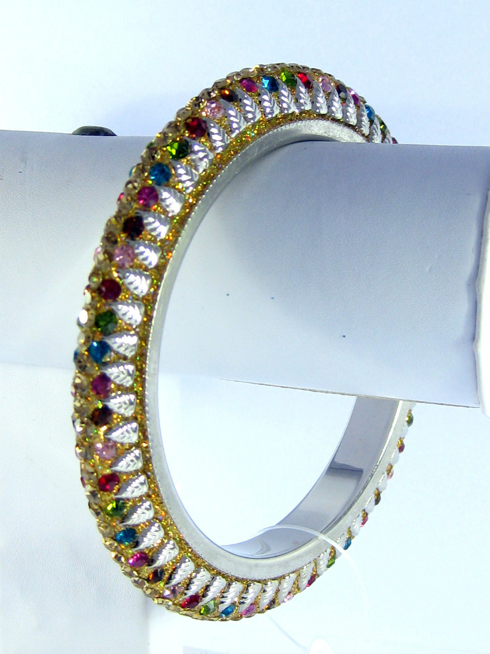 Primary image for Designer Crystal Lac Multi-color Bangle Bracelet L / XL Bridal Indian Jewelery