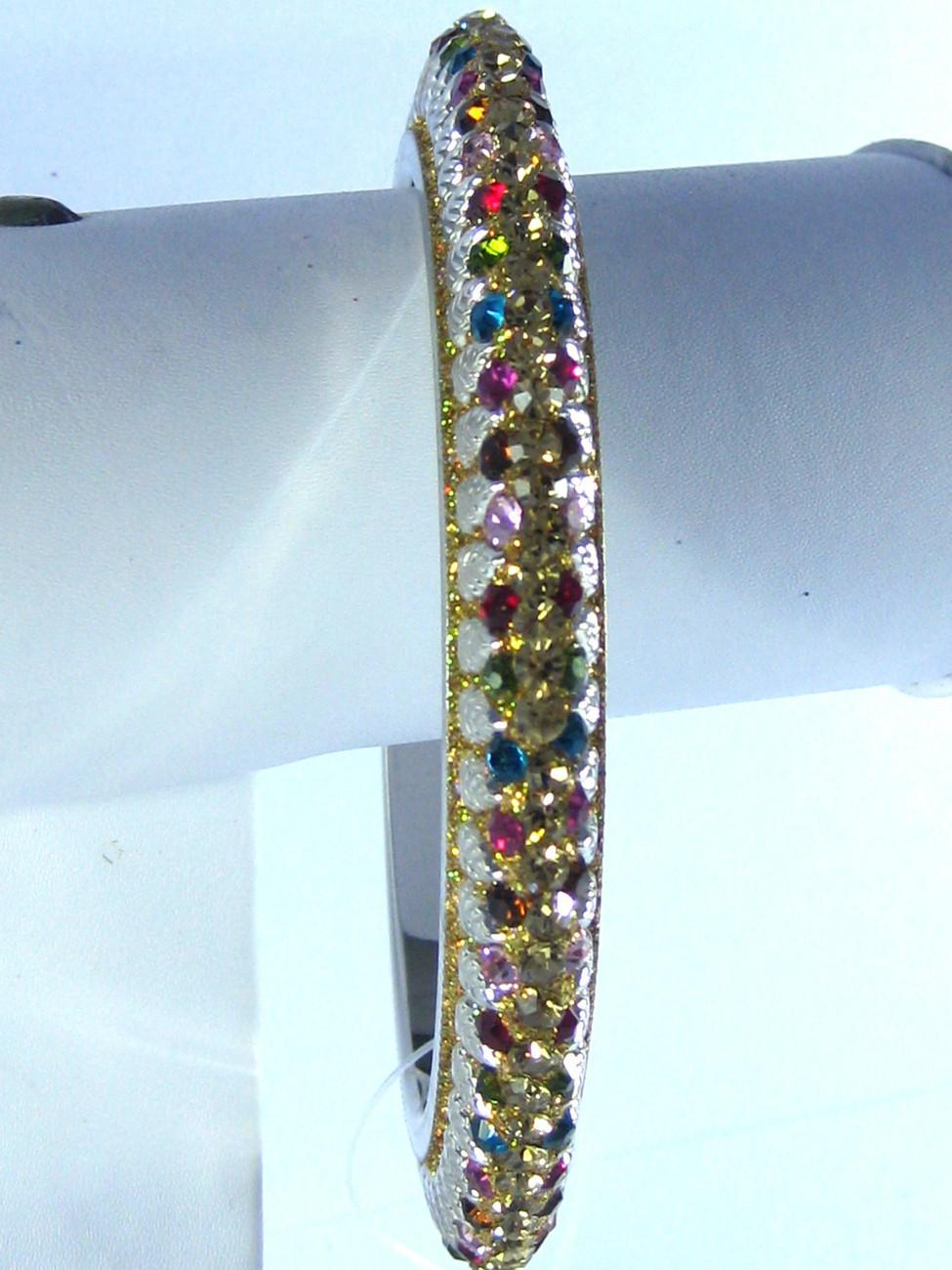 Designer Crystal Lac Multi-color Bangle Bracelet L / XL Bridal Indian Jewelery